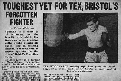 Newspaper cutting from Tex Woodward's fighting career.