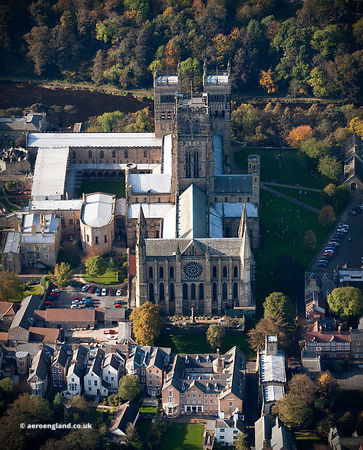 Durham Cathedral Durham UK aerial photograph
