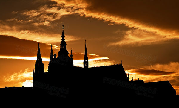 Dusk silhouette of the Prague Castle