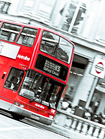 London, Double-Decker bus on road