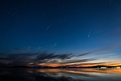 15 Perseid meteors above lake Vesijärvi in southern FInland on August 14th 2020. Composite.