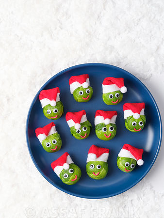 Fun Brussel sprouts with santa hats