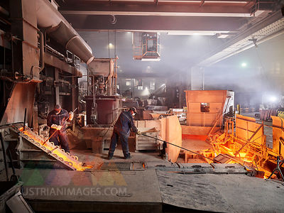 Industry, Workers controlling smelting process
