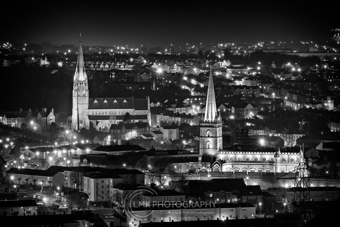 Two Churches From The Hill Mono