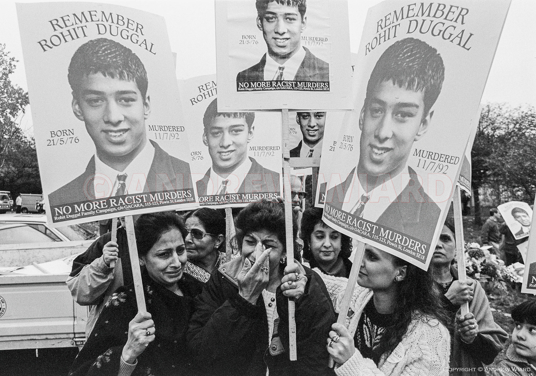 The mother of Rohit Duggal, 15 years old, murdered by a gang of white youths in Well Hall road Eltham on July 7th 1992, leads...