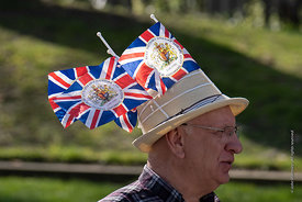#124674  The flags on his hat celebrate the Queen's Diamond wedding in 2012.  One of the Brexiteers (in favour of Brexit) dem...