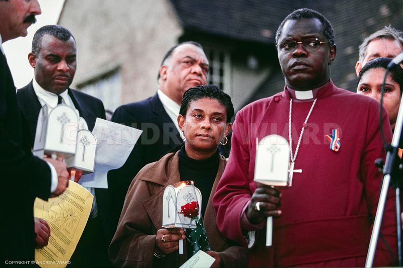 England, UK . 22.4.1998. London . Well Hall Road, Eltham. Doreen Lawrence on the 5th anniversary of the murder of her son Ste...