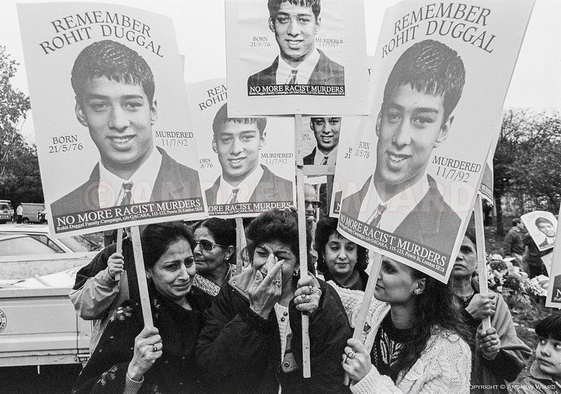 England, UK. 7.11.1992 London. The mother of Rohit Duggal, 15 years old, murdered by a gang of white youths in Well Hall road...