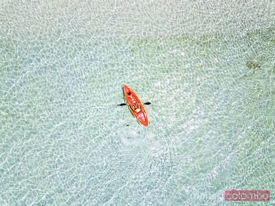 Drone view of woman kayaking, Philippines