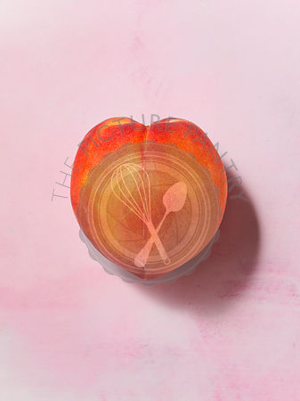 A single whole peach on a pale pink textured surface.