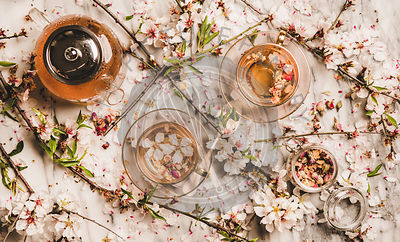 Flat-lay black tea with dry rose flowers over blossom branches
