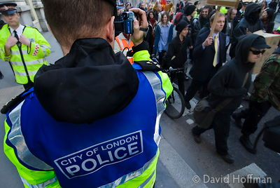 City of London police watching a protest march