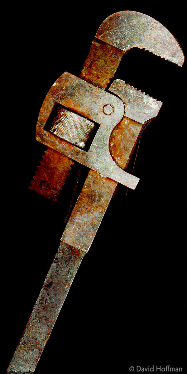24 inch rusty adjustable pipe wrench. Hand made in early 20th century by motor mechanic, London.