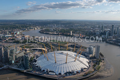 Aerial view of the O2 and Peninsula Square, Greenwich Peninsula, London