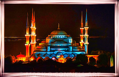 art,blue mosque,istanbul,turkey,painting,airbrush,minarets,lights,night