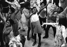 #74660,  Anna Scher Children's Theatre, Bentham Court Hall, Islington, North London 1972.  Kids would come after school and b...