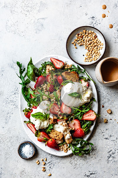 Strawberry burrata panzanella salad.