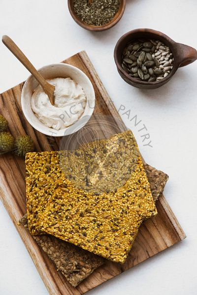 Multi Seed Crackers and humus sauce.