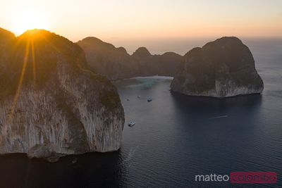 Aerial view of Maya bay, Ko Phi Phi Leh island at sunset, Thailand