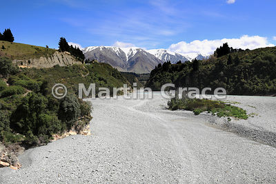 Looking approximately north over the exposed gravels of the Rakaia River to the snow-capped Mount Hutt range beyond, Rakaia G...