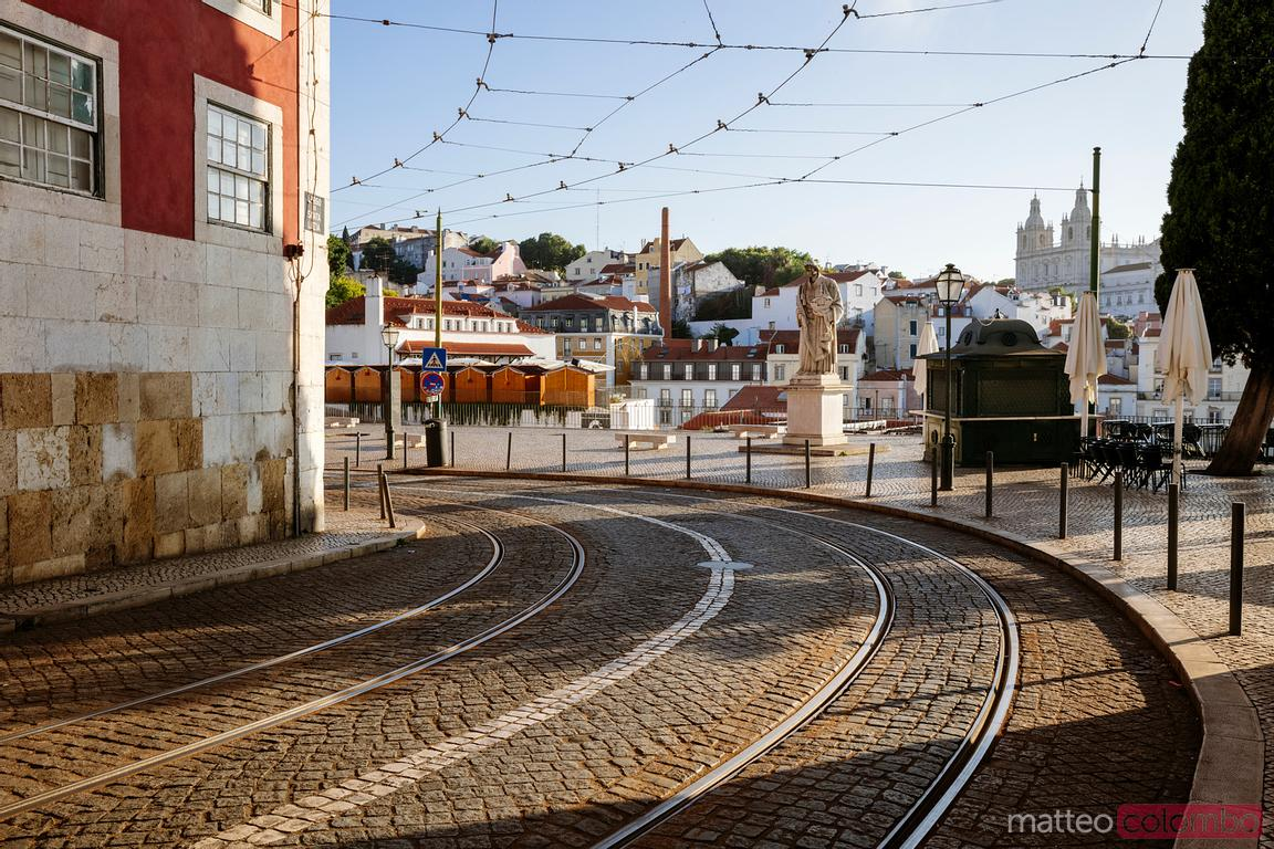 Street with tramway, Lisbon, Portugal