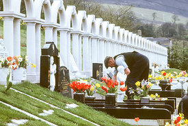 #012505,  Bryntaf Cemetery, Aberfan, Glamorgan, South Wales, 1975.  The Aberfan disaster happened on 21st October 1966 when a...