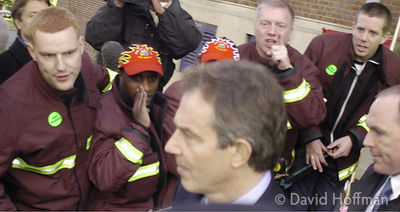 Tony Blair booed by angry fire fighters as he leaves a Labour meeting in Crouch End, London during the fire fighters strike, ...