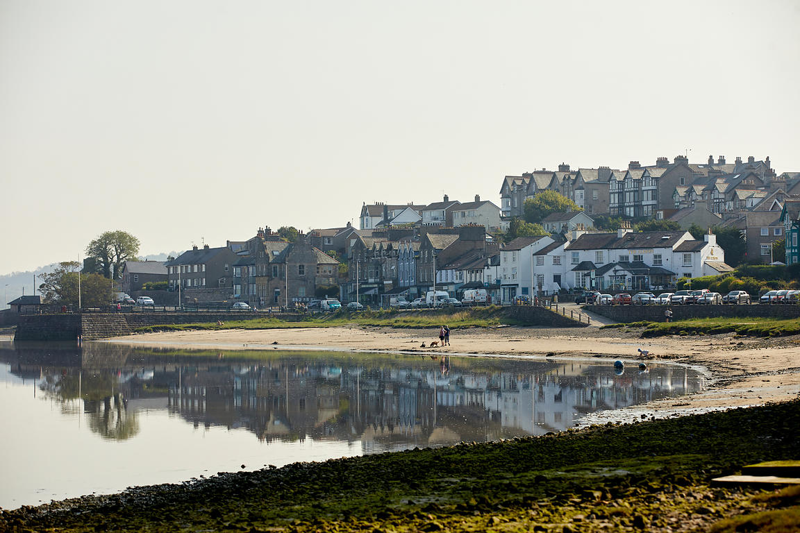 Arnside village in Cumbria coastal beach in Morecambe Bay