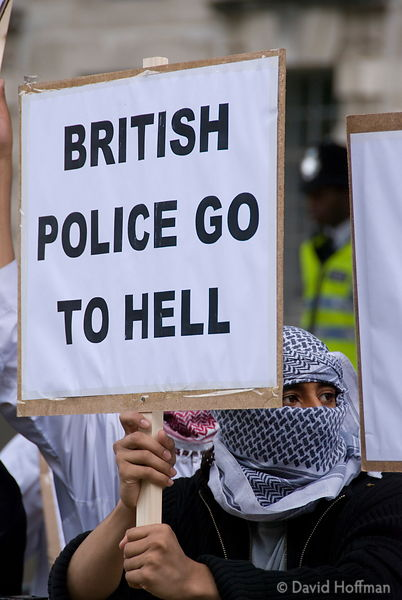 070615-101 Muslim demonstration against police oppression and terrorist stereotyping opposite Downing Street, Whitehall, Lond...