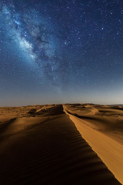 Milky way over Wahiba sands desert, Oman