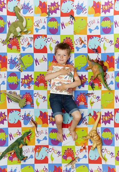 Boy lying on dionsaur background with a dinosaur book
