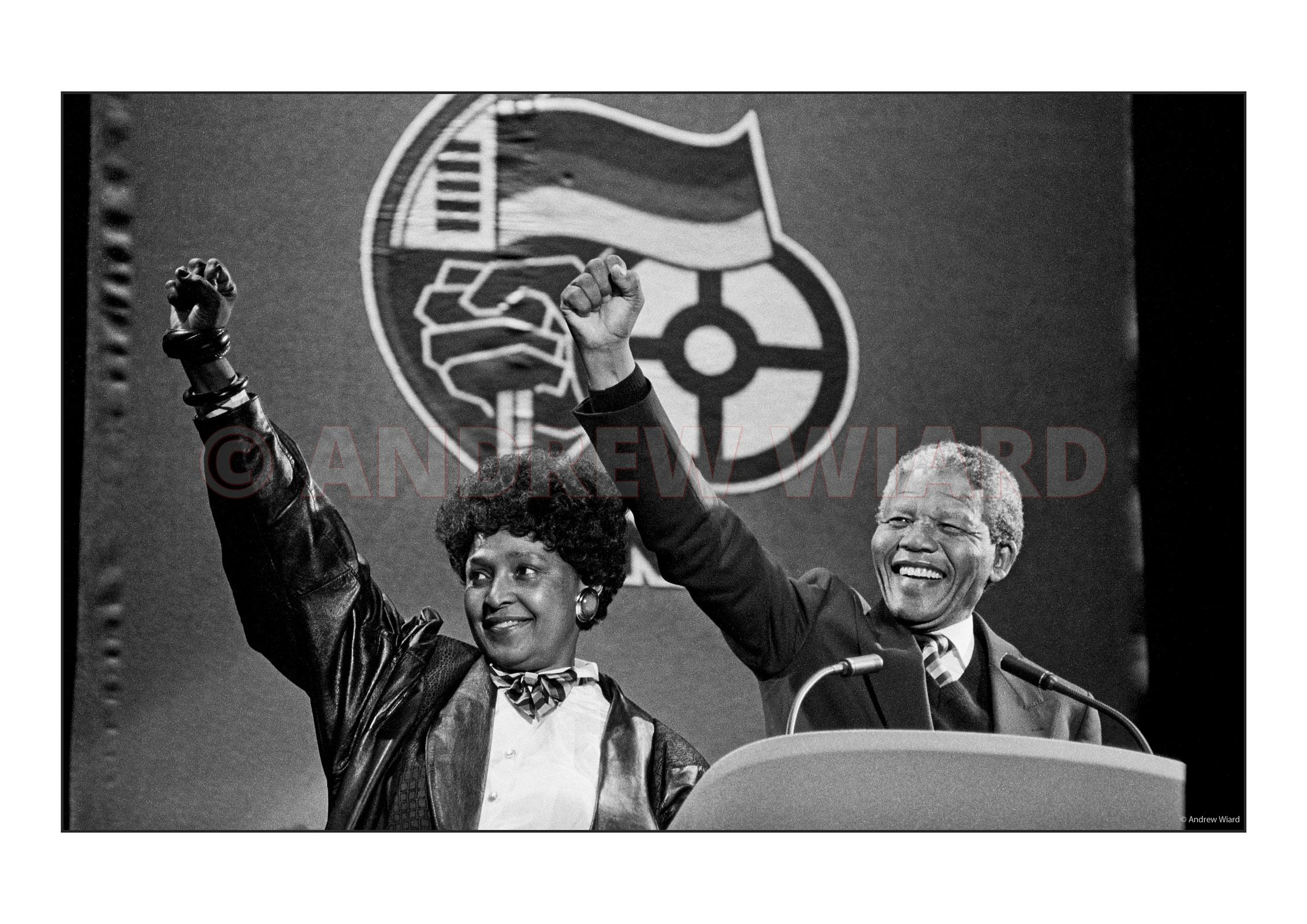 Nelson and Winnie Mandela, Wembley Stadium..