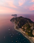 Aerial view of Phi Phi island at sunrise, Thailand