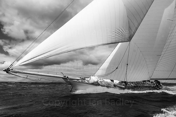 Classic yacht Mariquita  on the rail BW