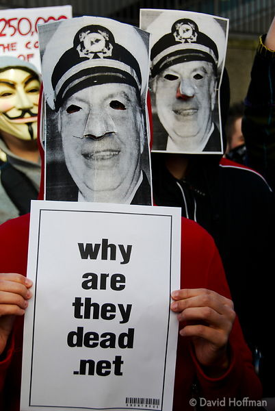 Protesters in L Ron Hubbard (founder of Scientology) masks outside the London Headquarters of the Church of Scientology on Su...