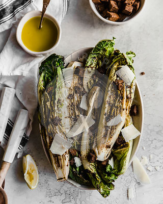 Grilled romaine caesar salad, with parmesan and pumpernickle croutons