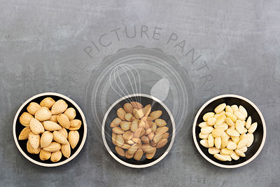 Almonds in shells; almond kernals and blanched almonds.