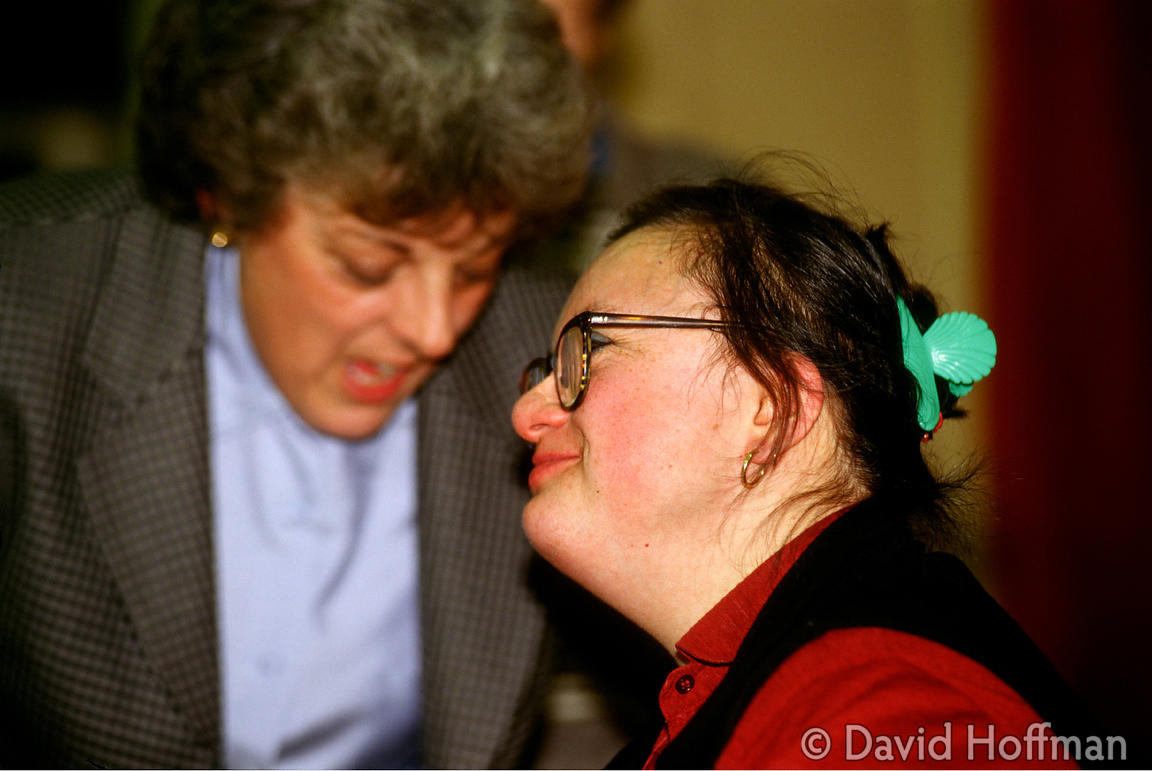 Anya Souza, a young woman with Downs syndrome, in conversation following her presentation to the Newham Association for Disab...