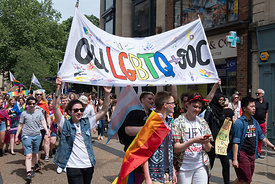 #124970,  Oxford University group and banner, Pride march, Oxford, Saturday 1st June, 2019.