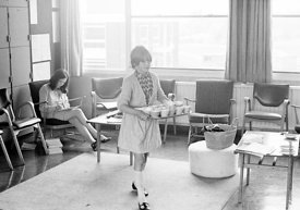 #83845,  Girls taking tea cups back from the staffroom, Whitworth Comprehensive School, Whitworth, Lancashire.  1970.  Shot f...