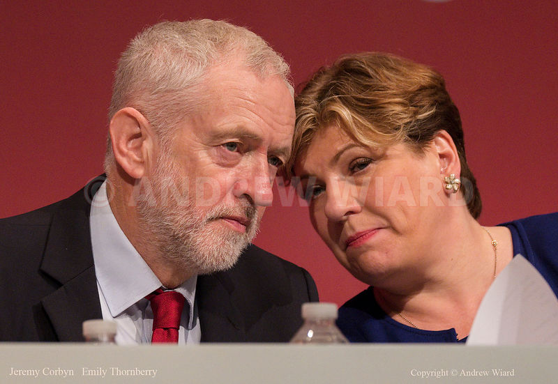 England, UK . 25.9.2017. Brighton. Labour Party Conference Monday. Jeremy Corbyn - Emily Thornberry..
