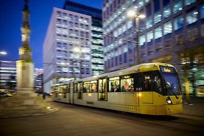Metrolink tram moving