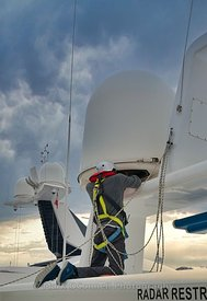 crew, Genoa, safety harness, superyacht, engineer, satcom, repairs, burkut