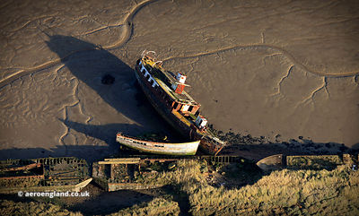 shipwrecks on the River Medway aerial photograph