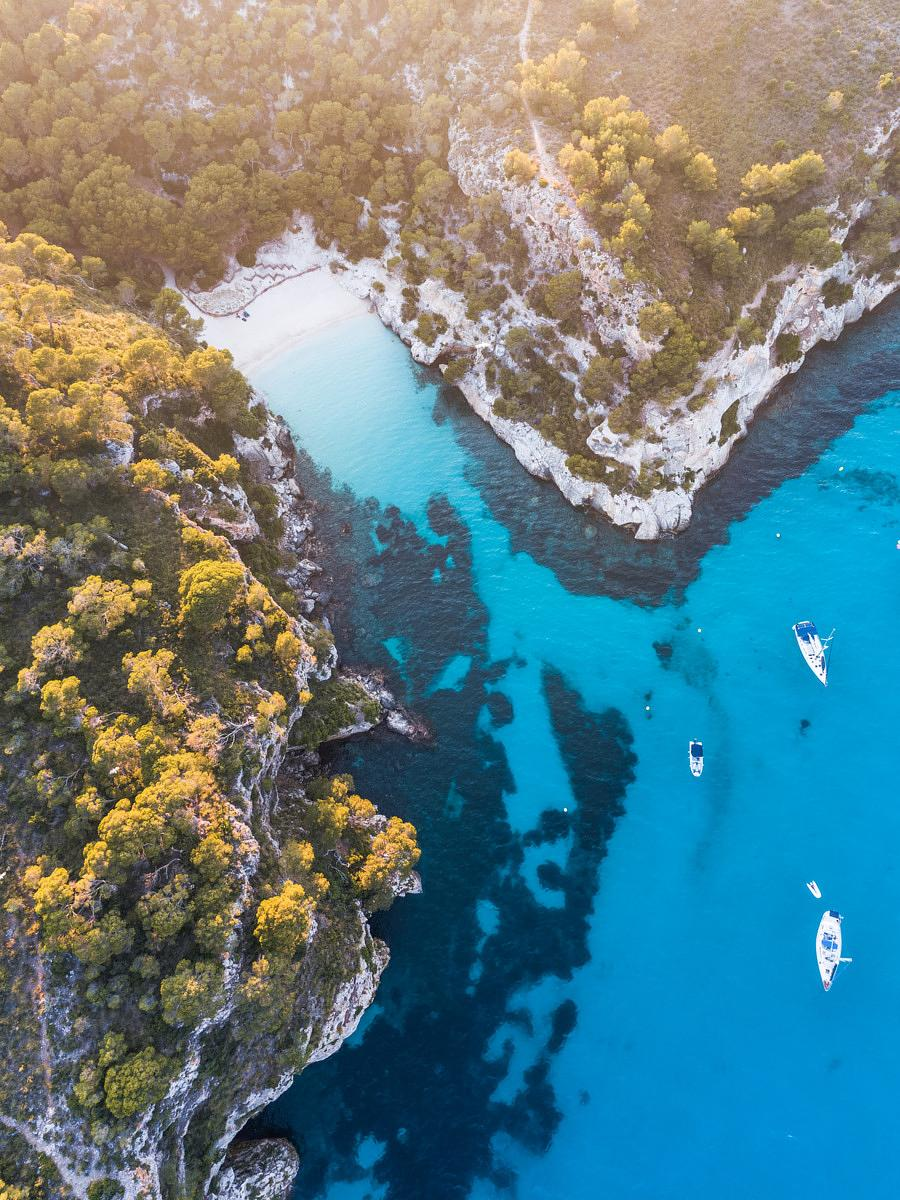 Aerial view of Cala Macarelleta at sunset, Menorca, Spain