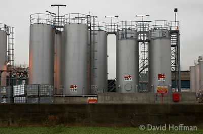 Storage tanks by the River Lea, east London.