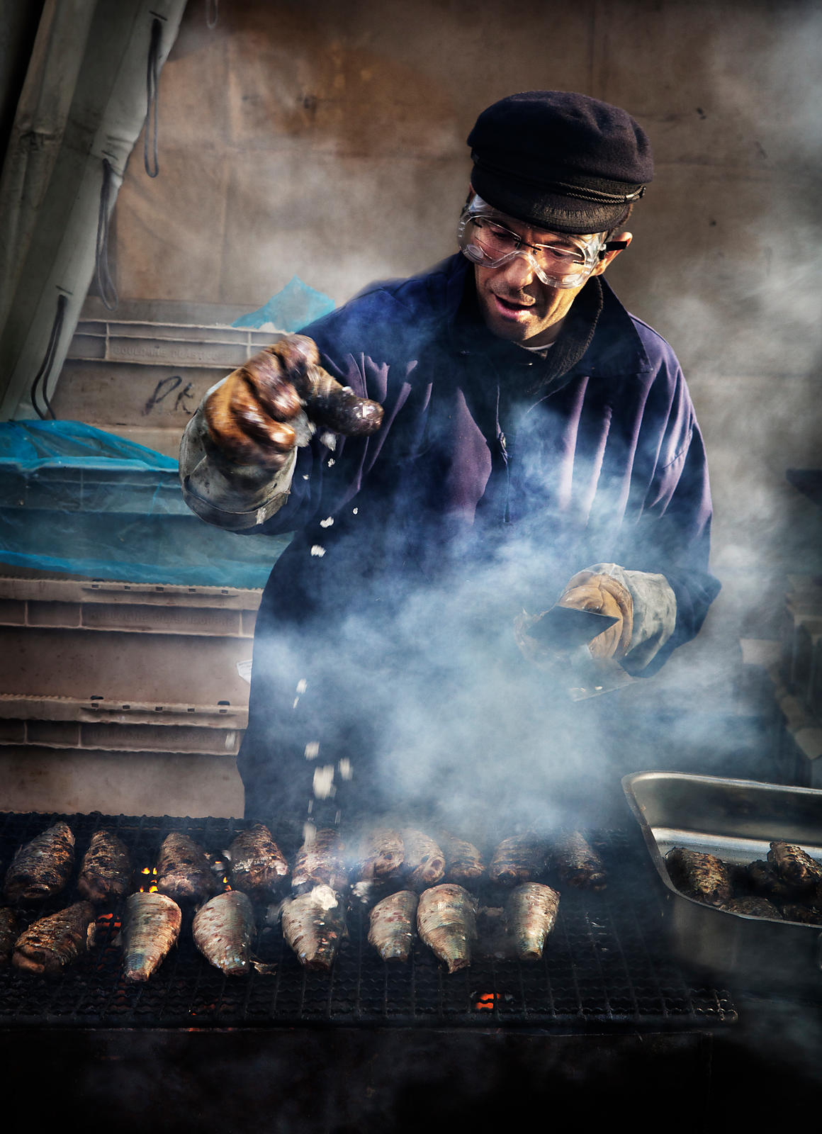Barbecue at the Herring Festival, Boulogne-sur-Mer, France.