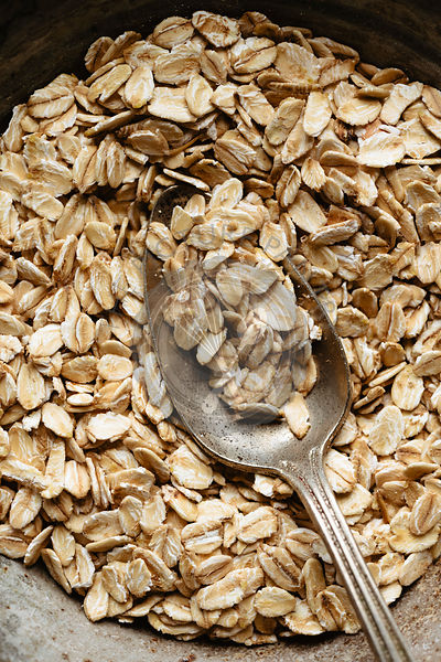 Spoon into a bowl full of oat flakes