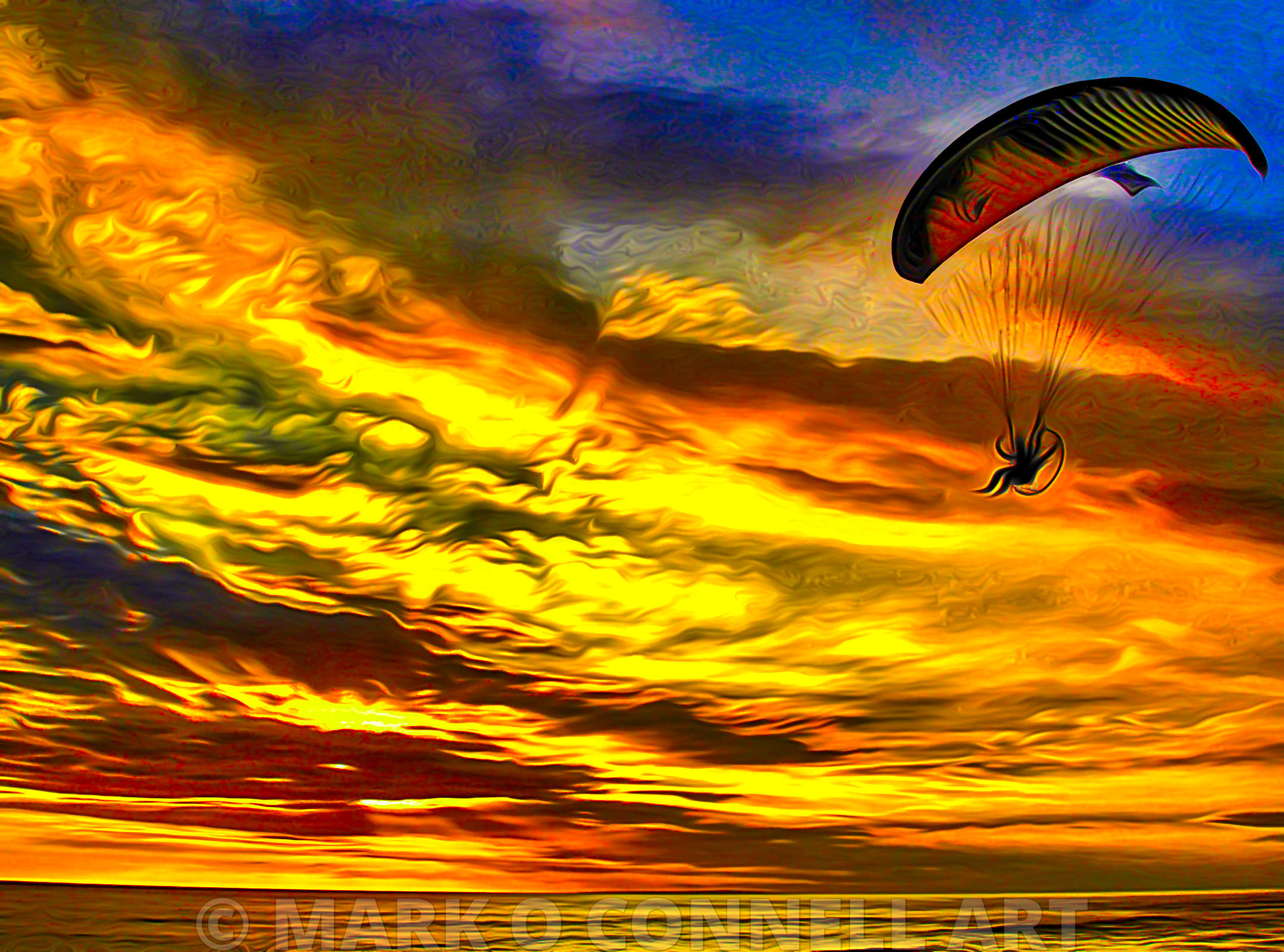parapenting,art,painting,airbrush,abstract,sunset,sea,ocean,yellow,sky,parachute,clouds