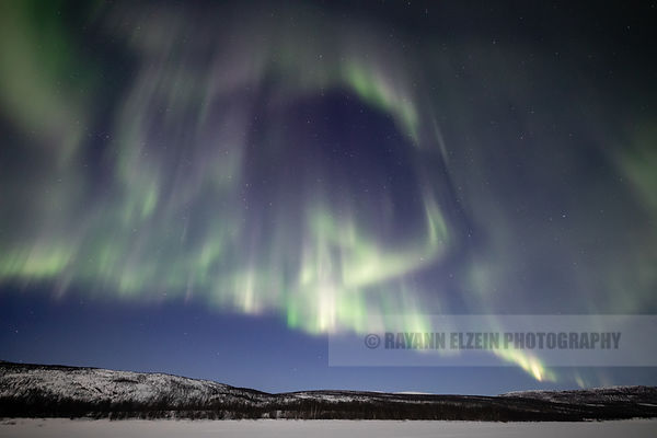 Aurora borealis above the fells in Utsjoki in the northernmost part of Lapland, Finland